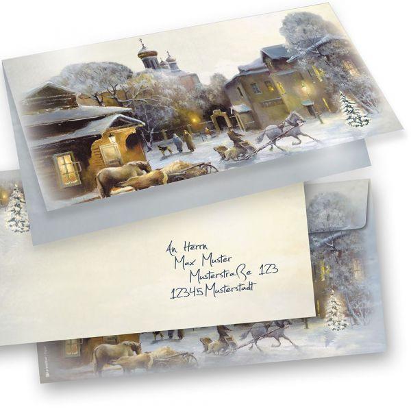 AQUARELL Weihnachtskarten 15er SET Klappkarten DIN lang mit Umschlag, Design by Tatmotive