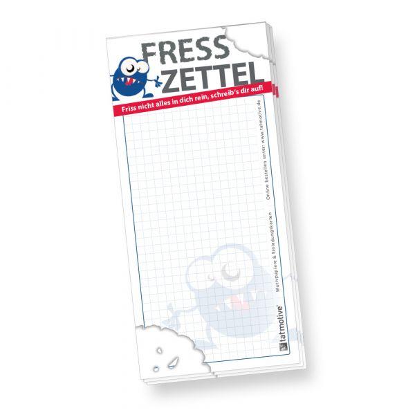 Notizblock Fresszettel kariert (40 Stück) Einkaufszettel Einkaufsblock Notizzettel Einkaufsliste witzig