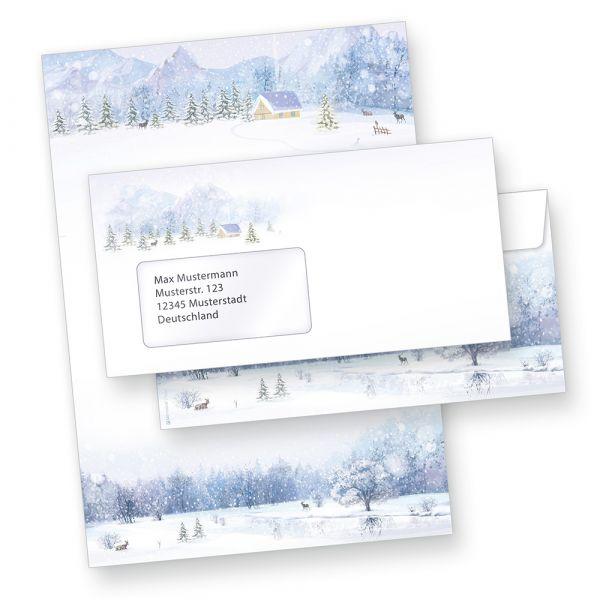 Briefpapier Set Weiße Weihnacht (25 Sets mit Fensterumschläge)  nostalgisch