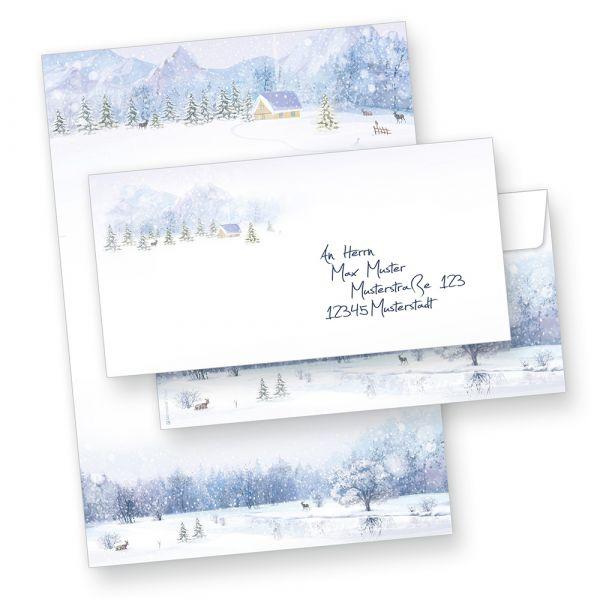 Briefpapier Weiße Weihnacht (100 Sets ohne Fenster) Weihnachtsbriefpapier mit Umschläge
