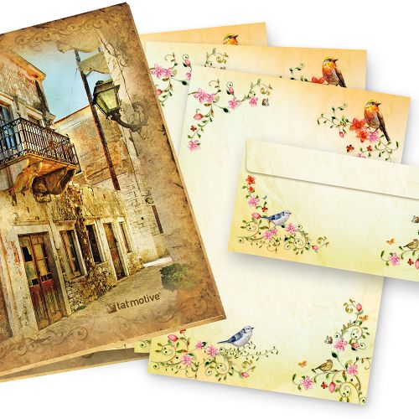 TOSKANA Briefpapier Set Blumen (25 Sets)  A4 297 x 210 mm 90 g/qm mit Briefumschläge DL  mit Vögel