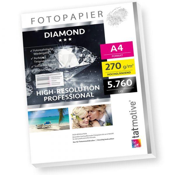 DIAMOND F03D PROFI Fotopapier Hochglanz , 270 g/qm A4 , High-Res bis 5760 dpi , 50 Blatt
