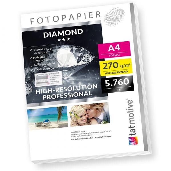 DIAMOND F03D PROFI Fotopapier Hochglanz , 270 g/qm A4 , High-Res bis 5760 dpi , 25 Blatt