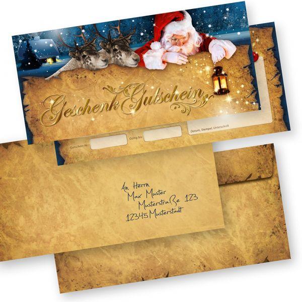 Gutscheine Weihnachten Nordpol Express (25 Sets) mit Umschläge einfach Werte eintragen + Stempel, für Firmen
