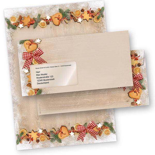 Briefpapier Weihnachten LANDIDYLLE (10 Sets mit Fensterumschläge) Weihnachtsbriefpapier DIN A4