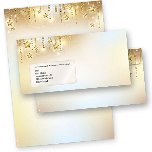 Briefbogen Set Weihnachten STARDREAMS (25 Sets mit Fensterumschläge) DIN A4 90g Weihnachtsbriefpapier mit Umschläge