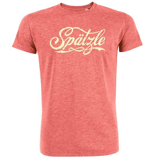 T-Shirt schwäbisch Spätzle Rot hell meliert Größe S, 100% Bio-Baumwolle