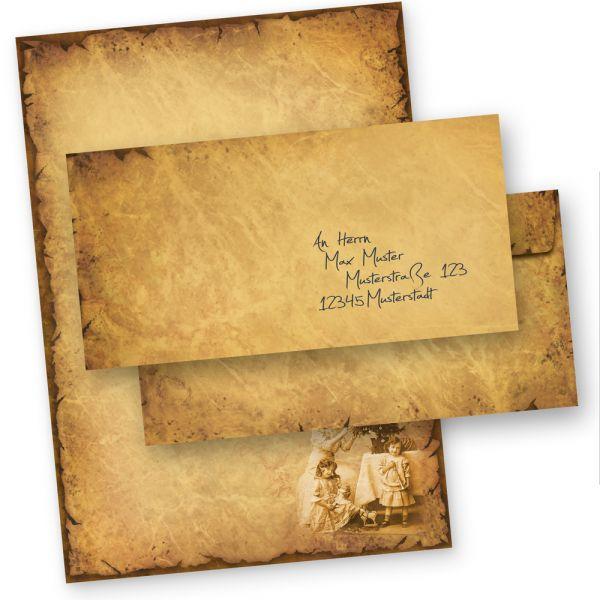 Briefpapier Weihnachten NOSTALGIE (10 Sets ohne Fenster) Weihnachtsbriefpapier DIN A4