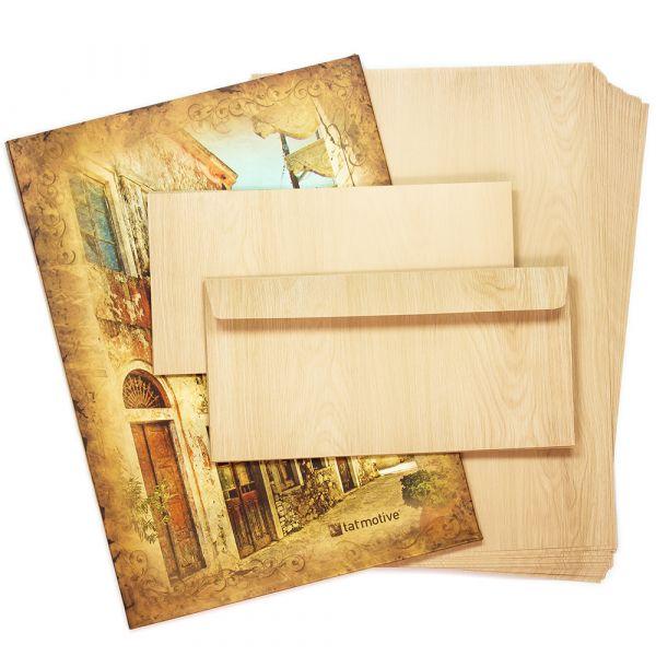 Briefpapier Set Holz-Optik MADEIRA (25 Sets) für Schreiner Tischler uvm. Set DIN A4 90g beidseitig