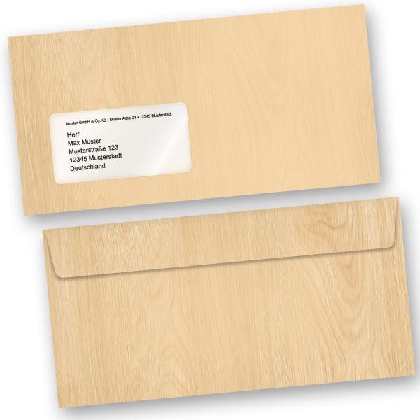 Briefumschläge MADEIRA Holz-Optik Braun (500 Stück m.F.) DIN lang MIT Fenster Haftklebend Holzmaserung Holzmuster