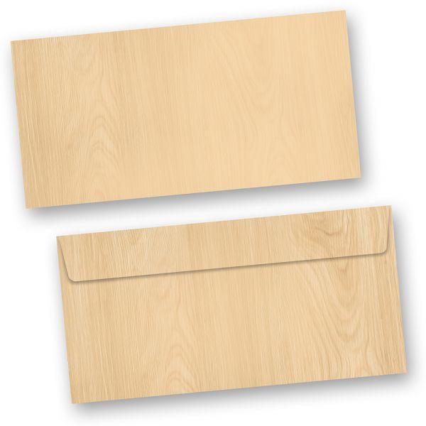 Briefumschläge Holz-Optik MADEIRA (50 Stück o.F.) haftklebend DIN lang