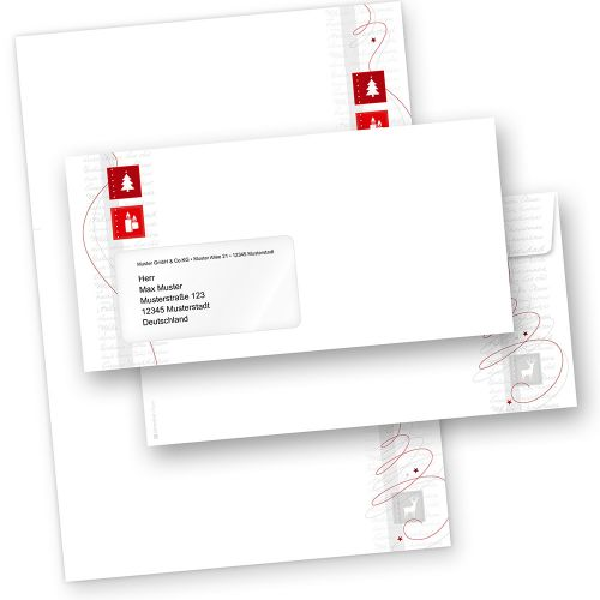 Red Modern Art 25 Sets Briefpapier Weihnachten mit Umschläge mit Fenster für Firma