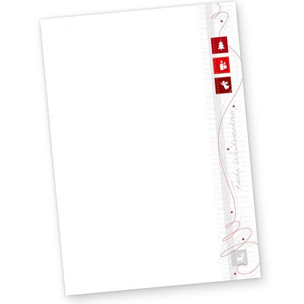 Red Modern Art 50 Blatt Briefpapier Weihnachten für Firma