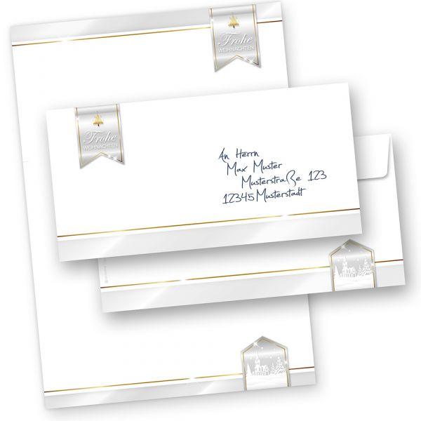 Business Design 10 Sets Weihnachtsbriefpapier mit Umschläge ohne Fenster, für Geschäftskunden