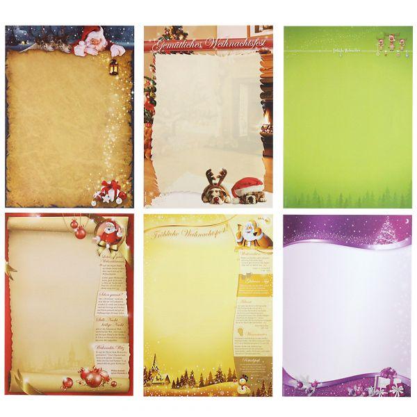 Briefpapier Mix Weihnachten WM01 6 x 10 Blatt, Briefpapiersammlung gemischt mit unseren beliebtesten Weihnachtsmotiven