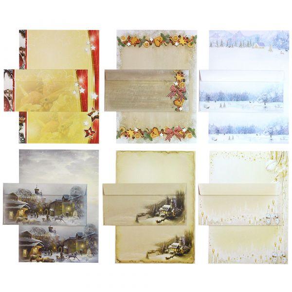Briefpapier Set - Mix Weihnachten WM02 - 6 x 5 Sets mit Umschläge, Briefpapiersammlung gemischt mit unseren beliebtesten Weihnachtsmotiven