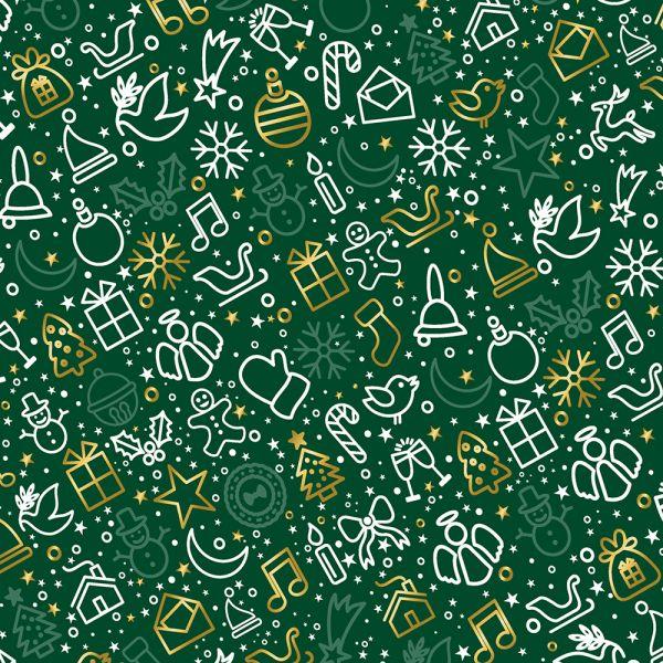 PREMIUM Geschenkpapier für Weihnachten Grün 10 Bogen Weihnachtspapier Bogen DIN A2 (gefalzt geliefert auf DIN A4)