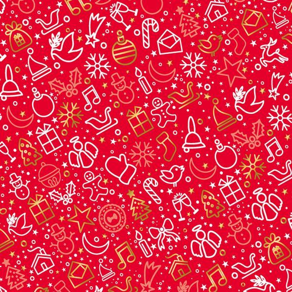 Geschenkpapier für Weihnachten Rot 10 Bogen Weihnachtspapier Bogen DIN A2 (gefalzt geliefert auf DIN A4)