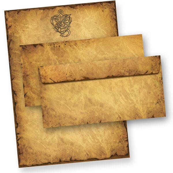 Altes Briefpapier Set Drache Wappen (25 Sets) Geschenkset Mappe Vintage Set Motivpapier Vintage