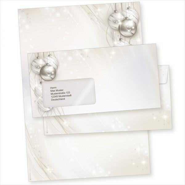 ELEGANCE 100 Sets Weihnachtsbriefpapier mit Fensterumschlägen geschäftlich