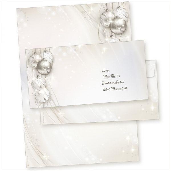 ELEGANCE 25 Sets Weihnachtsbriefpapier mit Umschläge ohne Fenster, für Geschäftskunden