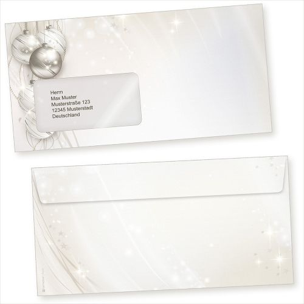 ELEGANCE 100 Stück  Briefumschläge Weihnachten mit Fenster