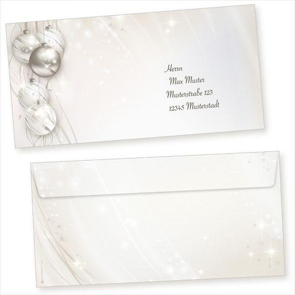 ELEGANCE 100 Stück Weihnachts-Briefumschläge Din lang ohne Fenster Umschläge für Weihnachten selbstklebend haftklebend