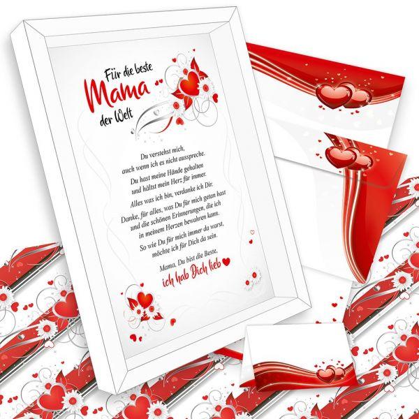 Premium Bilder-Rahmen Geschenk für Mama - Ich hab Dich lieb - für Mutter Geschenkidee