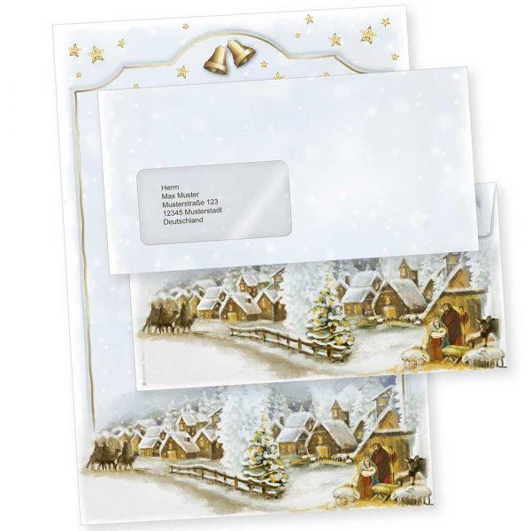 Weihnachtsdorf 250 Sets Weihnachtsbriefpapier mit Fensterumschlägen geschäftlich