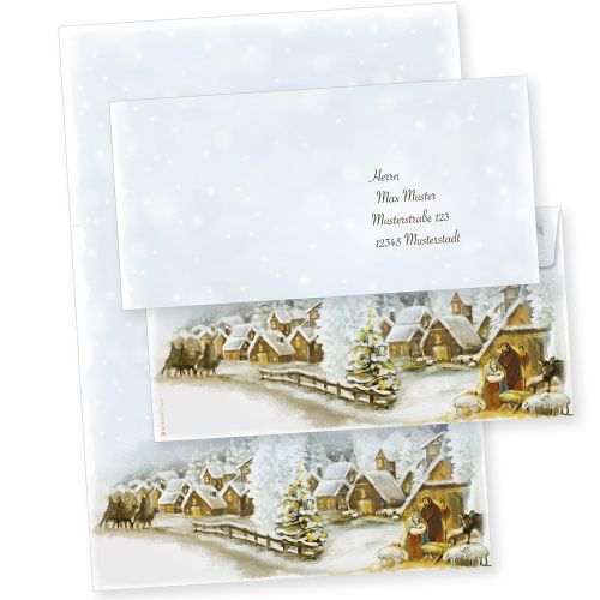 Weihnachtsdorf 100 Sets Weihnachtsbriefpapier mit Umschläge ohne Fenster, für Geschäftskunden