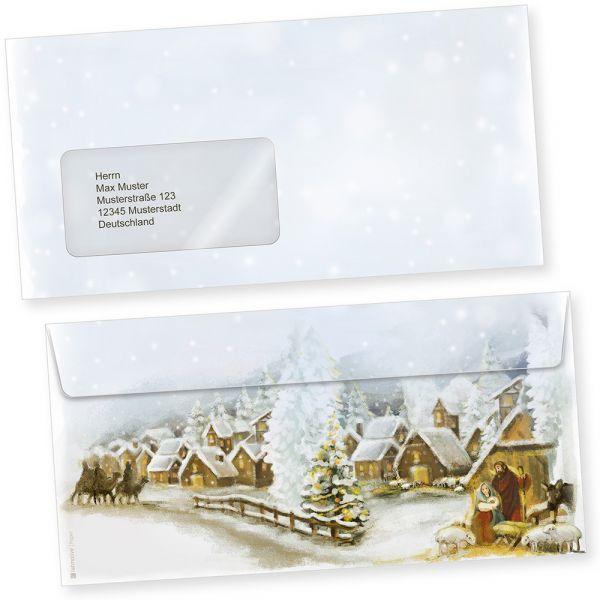 Weihnachtsdorf 100 Stück  Briefumschläge Weihnachten mit Fenster