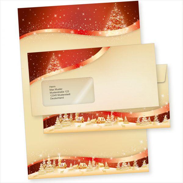 ROT-GOLDEN 25 Sets Weihnachtsbriefpapier mit Fensterumschlägen geschäftlich