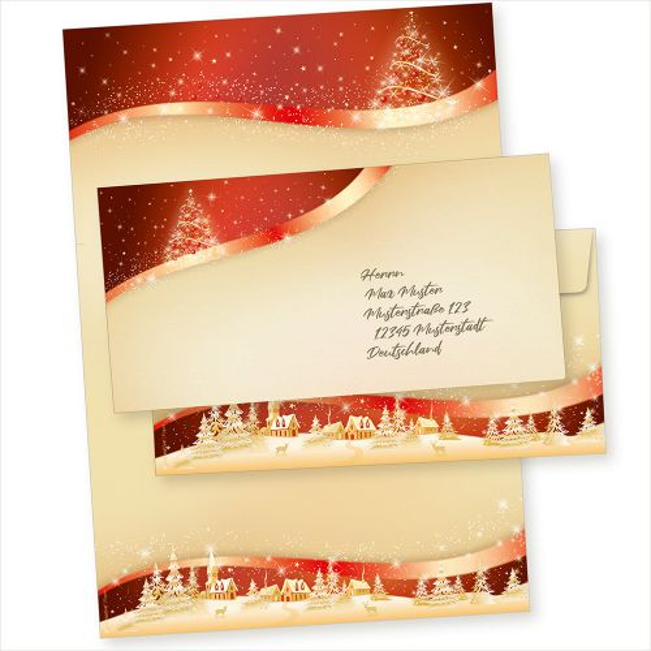 ROT GOLD 500 Sets Weihnachtsbriefpapier mit Umschläge ohne Fenster, Briefpapier Weihnachten A4