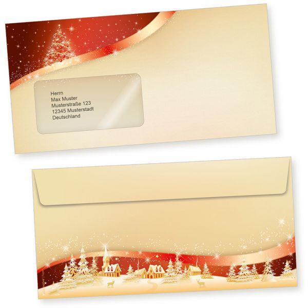ROT-GOLDEN 500 Stück  Briefumschläge Weihnachten mit Fenster