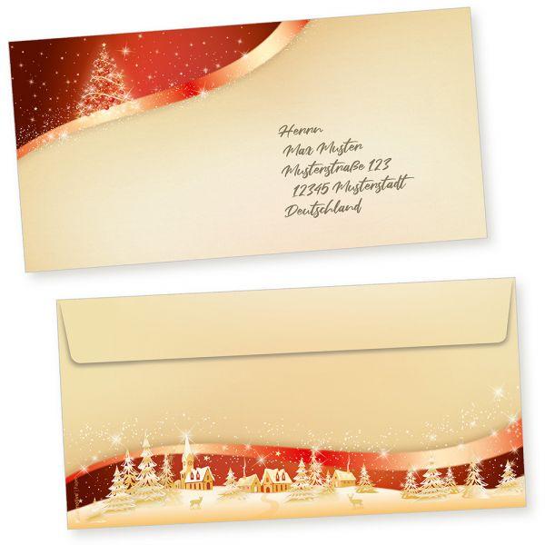ROT GOLD 100 Stück Briefumschläge Weihnachten Din lang ohne Fenster, weihnachtliche Umschläge selbstklebend haftklebend