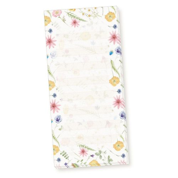 Notizblock Flora-Bianca liniert (10 Stück) Notizzettel Blumen mit feiner Lineatur