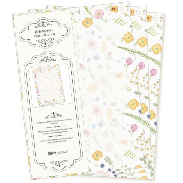 Flora-Bianca Briefpapier 50 Blatt DIN A4 90 g/qm beidseitig floral nachhaltig gedruckt