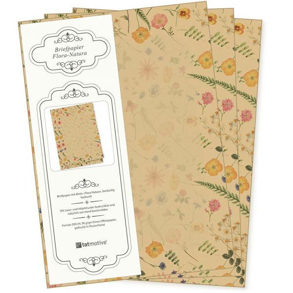 Flora-Natura Briefpapier Vintage Blumen 500 Blatt DIN A4 90 g/qm beidseitig floral nachhaltig gedruckt