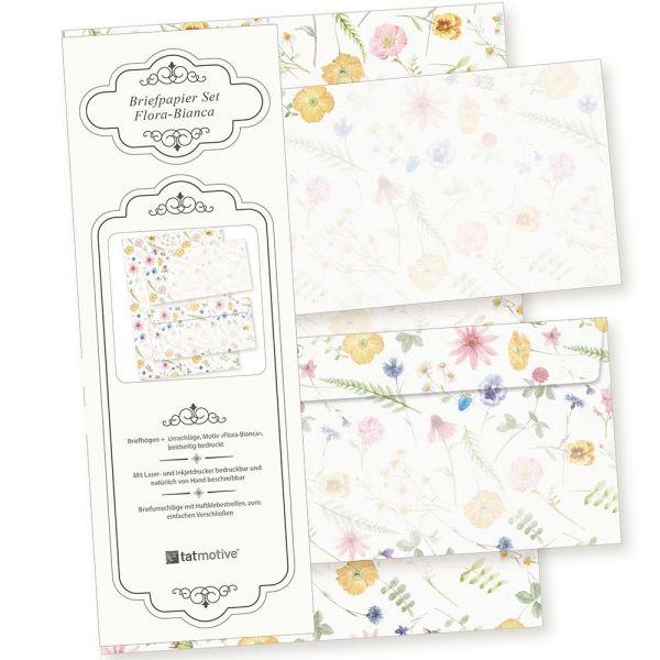 Flora-Bianca Briefpapier Set 250 Sets DIN A4 90 g/qm inkl. florale Briefumschläge - nachhaltig gedruckt