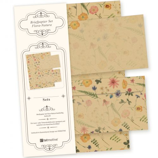 Flora-Natura Briefpapier Set Vintage Blumen 100 Sets DIN A4 90 g/qm inkl. florale Briefumschläge - nachhaltig gedruckt