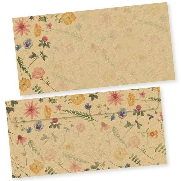 Flora-Natura Briefumschläge Vintage Blumen Floral 500 Stück DIN lang Umschläge selbstklebend ohne Fenster nachhaltig gedruckt