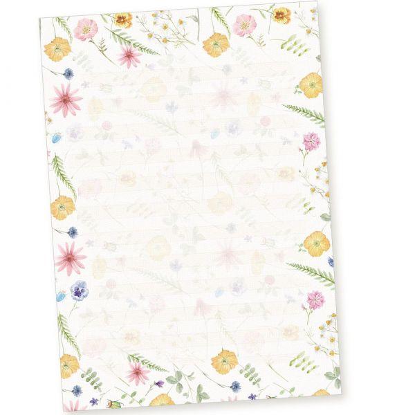 Schreibblöcke DIN A4 liniert Flora-Bianca (10 Stück) Briefpapier-Block mit Blumen und besonders feiner Lineatur