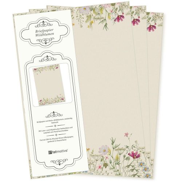 Wildblumen Briefpapier 50 Blatt DIN A4 90 g/qm beidseitig floral nachhaltig gedruckt