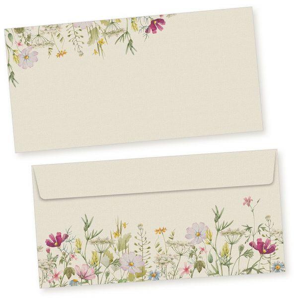 Wildblumen Briefumschläge 1000 Stück DIN lang Umschläge selbstklebend ohne Fenster nachhaltig gedruckt