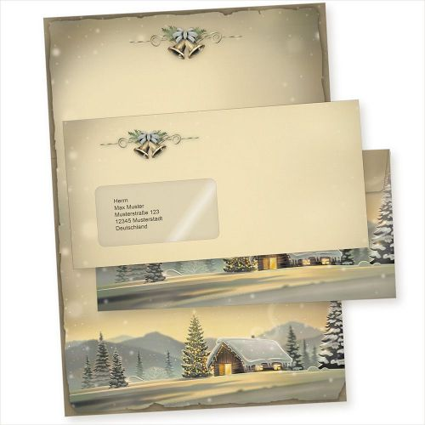 Glöcknerhütte 100 Sets Weihnachtsbriefpapier mit Fensterbriefumschlag, Briefpapier Weihnachten A4