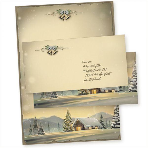 Glöcknerhütte 250 Sets Weihnachtsbriefpapier mit Umschlag ohne Fenster, Weihnachtspapier A4