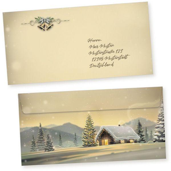 Glöcknerhütte 100 Weihnachts-Briefumschläge Din lang ohne Fenster Umschläge für Weihnachten selbstklebend haftklebend