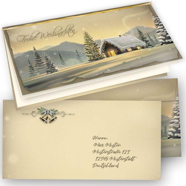 Glöcknerhütte Weihnachtskarten Set (50 Sets) Klappkarten DiN lang, mit Umschlag und Einlegeblätter bedruckbar