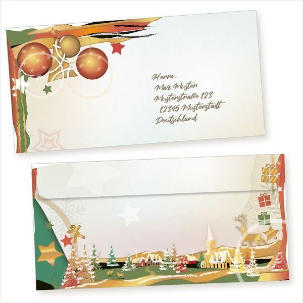 Art Deco 100 Weihnachts-Briefumschläge Din lang ohne Fenster Umschläge für Weihnachten selbstklebend haftklebend