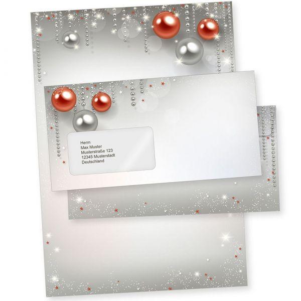 Gala Design 25 Sets Weihnachtsbriefpapier mit Umschlag MIT Fenster, Briefpapier Weihnachten A4